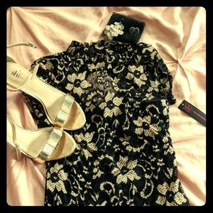 'Geisha' Dress with Metallic Floral Print